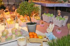 Peter Rabbit in his garden for this Peter Rabbit themed party