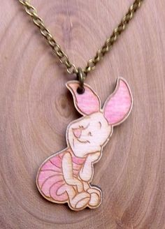 Wooden Piglet necklace by SomethingsBurningArt on Etsy Disney Necklace, Moomin, Disneybound, Pendant Necklace, Purses, Chain, Trending Outfits, Unique Jewelry, Handmade Gifts