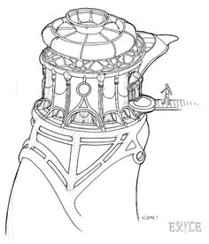 J'nanin concept art, from Myst III: Exile