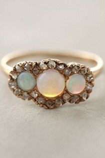 Vintage Diamond Wedding Ring   Pirlanta ve Opal Tasli Yuzuk