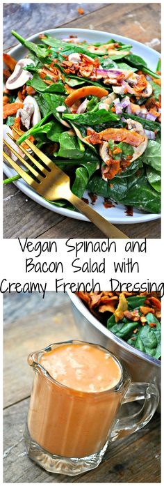 This vegan version of the most delicious spinach and bacon salad with creamy French dressing is the perfect potluck dish! Healthy, quick and amazing!