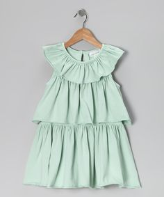 This stylish frock has a trio of tiers that seem to flutter and float with the butterflies—perfect for wearing alone on a warm summer day or layering with leggings if the breeze picks up. 96% cotton / 4% spandexMachine washMade in the USA