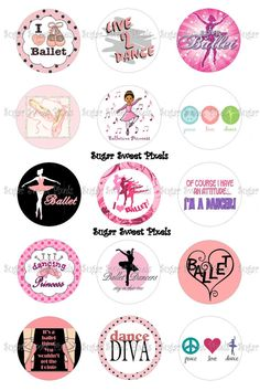 INSTANT DOWNLOAD Ballet Dance Inspired 1 inch Circle Bottlecap Images 4x6 sheet