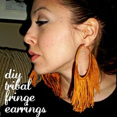 Hoop earrings: DIY Tribal Fringe Earrings from dollarstorecrafts. Do It Yourself Jewelry, Do It Yourself Fashion, Dollar Store Crafts, Dollar Stores, Birthday Presents For Friends, Tribal Trends, Fringe Earrings, Hoop Earrings, Fabric Earrings