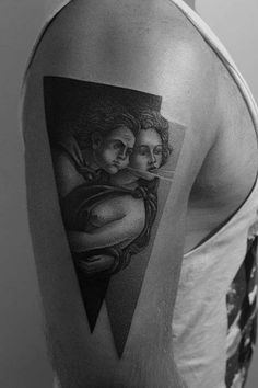 Dotwork style tattoo inspired on the angels of Boticelli's 'The Birth of Venus.'