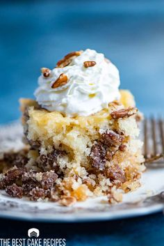 If you love pecan pie, you'll go crazy for this easy pecan pie cake! It's a homemade cake with sugary pecans inside. Best served with ice cream! Pecan Recipes, Best Cake Recipes, Dessert Recipes, Pecan Desserts, Cooking Recipes, Easy Recipes, Salad Recipes, Favorite Recipes, Pecan Pie Cake