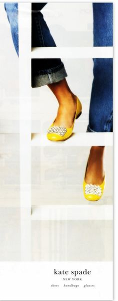 Kate spade yellow ballets and cuffed denim