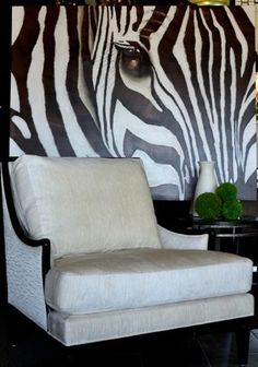 Zebra and Kreiss Chair - A Stunning Combination. Found at Design with Consignment in Austin, Tx. DWConsignment.com