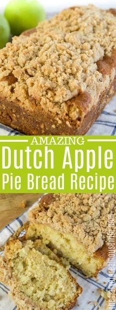 You will love this simple Dutch Apple Pie Bread. You will love this simple Dutch Apple Pie Bread. Apple Pie Bread, Apple Crumble Pie, Apple Cinnamon Bread, Dutch Apple Bread Recipe, Cinnamon Crumble, Apple Pie Recipes, Baking Recipes, Dessert Recipes, Bread Recipes