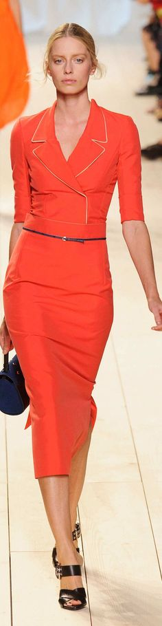 Love the orange color, v-neck, and ESPECIALLY the mid-calf fitted skirt length…