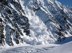 Avalanche  A large mass of snow, ice, etc., detached from a mountain slope and sliding or falling suddenly downward.