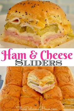 The BEST Ham and Cheese Sliders made on King's Hawaiian buns are so simple and easy to make. Cheesy ham sliders are a great recipe to have on hand. #hamandcheese #sliders