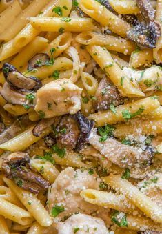 Weight Watchers friendly Chicken and Mushroom Cream Pasta you will LOVE with Parmesan Cheese and ff half and half.