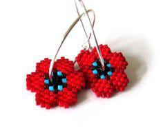 Earrings - Poppy Love - Red, Capri Blue and Silver