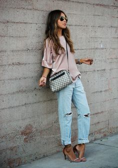 Blouse: J Brand via Neiman Marcus Jeans: AG Adriano Goldschmied Heels: Isabel Marant Bag: Vintage Gucci