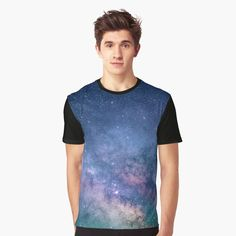 'Forest Trees Interstellar Nebula Universe Blue Galaxy Outer Space Cosmology' Graphic T-Shirt by Sea Photography, Space Backgrounds, Sunset Landscape, Black Abstract, Abstract Art, My T Shirt, Purple And Black, Blue, Graphic