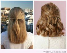 Half up Half Down hairstyle for medium length hair
