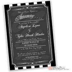 Lynn Wedding Announcement by RoseyMae Wedding Paper Design. Whimsical Wedding Invitations, Vintage Chalkboard, Chalkboard Invitation, Wedding Announcements, Wedding Paper, Paper Design, Marriage, Ice Cream, Valentines Day Weddings