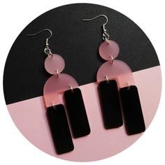 Beautiful statement earrings Frosted Rose and high shine sable Acrylic drop earrings