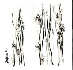 Abstract floral black and white drawing