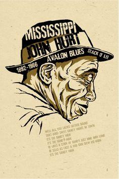 Mississippi John Hurt Poster- signed by Grego - digital - blues folk art - big… Blues Rock, Norman Rockwell, Folk Music, 60s Music, Jazz Music, Delta Blues, Blue Poster, Blues Artists, Jazz Blues