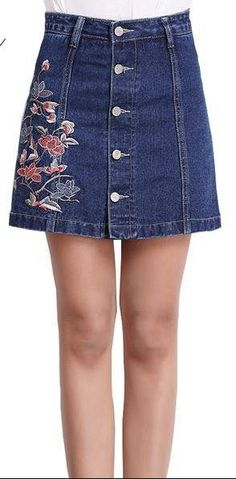 93dae38f733 skirts long short casual and dressy · Flower embroidered jeans skirt with  button front Jean Skirt With Buttons, Flower Embroidered Jeans,