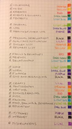 Bullet Journal - color coding for my 2015 bullet journal. this is a crazy amount of color coding! I bet it turns out super beautiful! Organization Bullet Journal, My Journal, Planner Organization, Bullet Journal Inspiration, College Organization, Journal Ideas, To Do Planner, Planner Pages, Life Planner