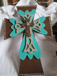 Western Style Turquoise/Brown Rustic Wall Cross with by RaeOfFaith, $54.00