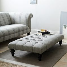 Part of our bestselling Hampstead collection, this elegant rectangular footstool has been exclusively designed for us by expert upholsterers in the UK. Both beautiful and practical, it works as a luxuriously large, padded footstool or coffee table and Padded Coffee Table, Footstool Coffee Table, Upholstered Coffee Tables, Coffee Table Design, Upholstered Furniture, Fabric Coffee Table, Den Furniture, Upholstered Footstool, Coffee Table Grey