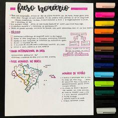Fuso Horário #GEOGRAFIA #RESUMOS #MAPASMENTAIS #ESTUDO #VESTIBULAR #ENEM Gcse Revision, School Study Tips, Pretty Notes, Lettering Tutorial, School Notes, Study Inspiration, Studyblr, Study Notes, Study Motivation