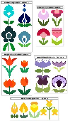 A choice of sets of 4 floral cross stitch patterns. Fun and ideal for cards, linen, gift bags, etc. Modern cross stitch chart by CrossStitchtheLine