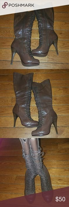 Gorgeous brown boots by Bakers These boots are stunning! Only worn 3xs at work and got so many compliments every time! Inside has a zip so you can easily put these on. Wear these with jeans and your favorite sweater and go! Bakers Shoes Heeled Boots