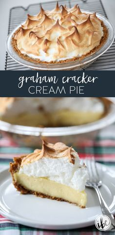 Learn how to make this delicious Graham Cracker Cream Pie. via Learn how to make this delicious Graham Cracker Cream Pie. Graham Cracker Cream Pie, Graham Cracker Pie Recipe, Graham Cracker Dessert, Graham Crackers, New Year's Desserts, Christmas Desserts Easy, Cute Desserts, Dessert Recipes, Pie Dessert