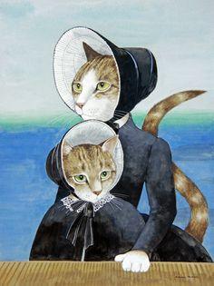 THE PIANO by SUSAN HERBERT - Anthropomorphic cat art.