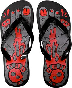 SOURPUSS BRAND Black & Red Women's Zombie Flip Flops - Medium  MSRP: $11.99 Shoes, Sandals, & Flip Flops - $4.98 - 1-FLOP-85501.  OTHER SIZES AVAILABLE ON THE WEBSITE!