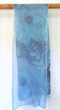 Blu seta sciarpa dipinta a mano blu primavera sciarpa