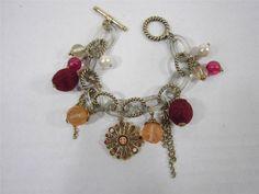 "Bead Bracelet Charm Dangle Bracelet Bar Clasp Burgandy, Pink 7"" Long Jewelry"