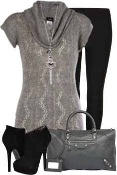"""""""Gray Tunic Sweater"""" by denise-schmeltzer on Polyvore"""