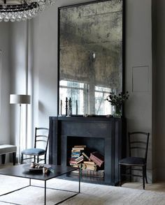 Fireplace of my dreams. Image via Bloglivin #creative #mirror #monochrome #thedream #ideas #interiors  #RSGLoves by rockettstgeorge
