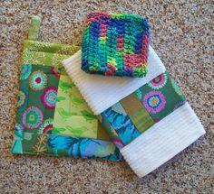 $14.75 Kitchen Set Green Abstract Designer Fabric Pot by Bonbonsandmore
