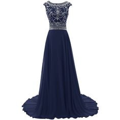 Diyouth Floor Length Bridesmaid Dress Cap Sleeves Beaded Prom Evening... ($139) ❤ liked on Polyvore featuring dresses, gowns, blue evening dresses, bridesmaid gowns, blue dress, beaded bridesmaid dresses and blue prom gown