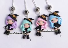 1 Chibi  Wicca Witch ooak necklace made in italy