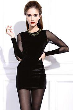 ROMWE | Pleuche Black Autumn Dress, The Latest Street Fashion #RomwePartyDress