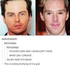 Andrew Scott & Benedict Cumberbatch eye swap. This is terrifying.