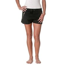 Love Tree Womens Drawstring Linen Shorts with Zipper Accents Black Small * Details can be found by clicking on the image.