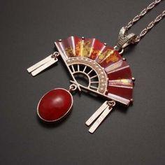 Red copper fan motif pendant