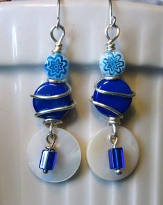 Silver wire wrapped blue ceramic & blue/white glass beads, white MOP shell drop dangle earrings. FOR SALE.      Please visit my ebay page to see all of my earrings for sale: www.ebay.com/...?::