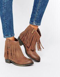 Glamorous Leather Fringed Flat Western Boots