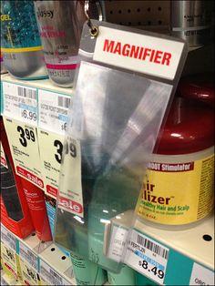 Old Customers, New Needs Shelf Edge Magnifier on Tether Close Up, News, Shelf, Retail, Pos, Shelves, Retail Merchandising, Shelving