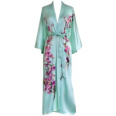 Silk Kimono Long Robe Handpainted Cherry Blossom ($100) ❤ liked on Polyvore featuring intimates, robes, long robe, kimono bathrobe, silk kimono, kimono dressing gown and robe kimono